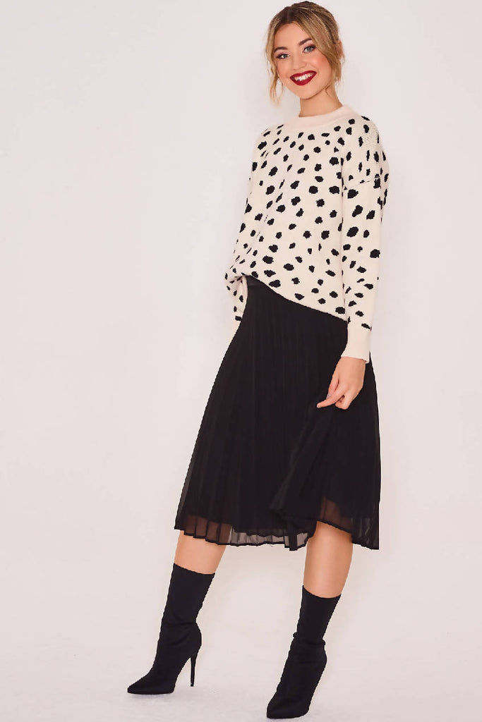 Black Shift Pleated Skirt