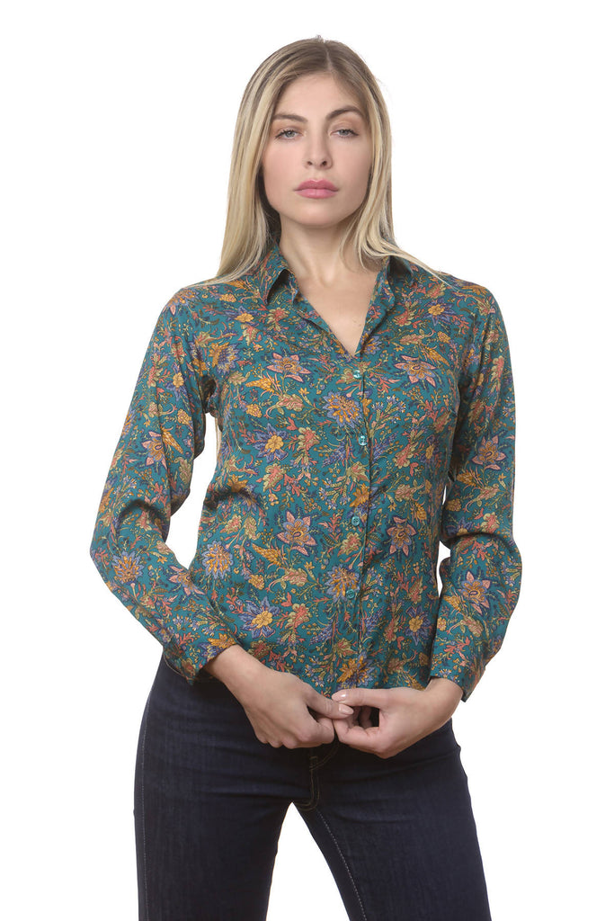 Art silk shirt with prints and scarves