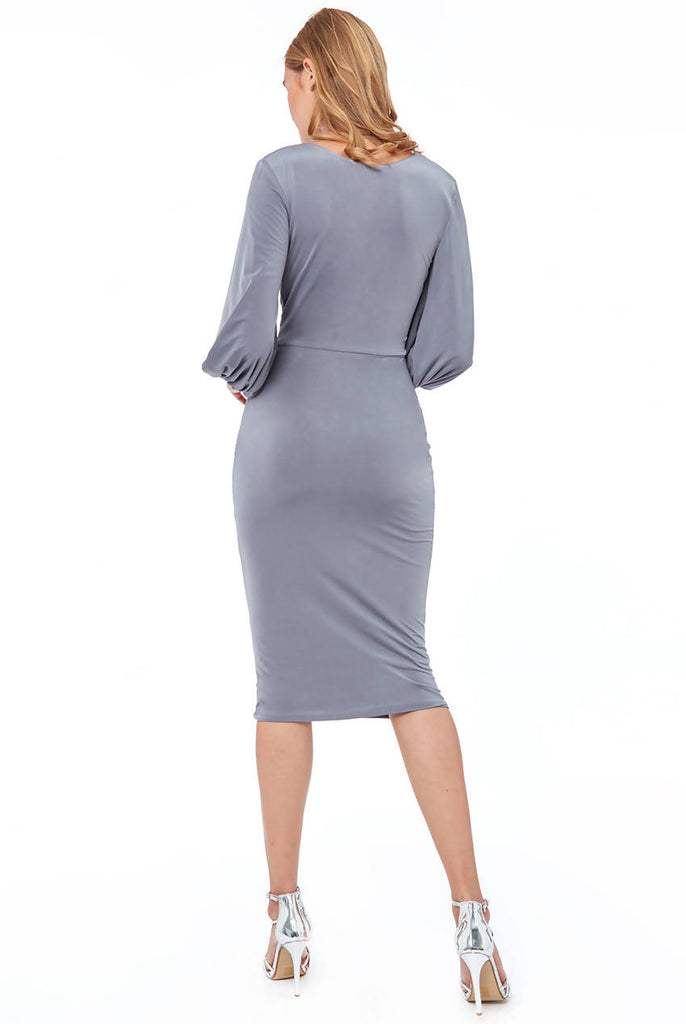FLAIRED SLEEVE MIDI DRESS