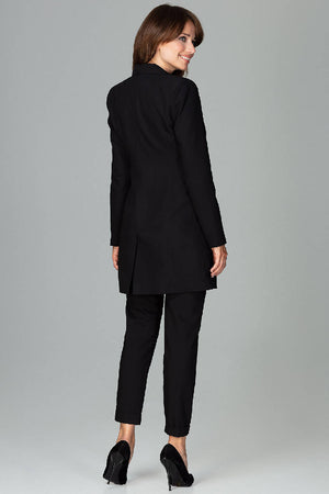 Long Blazer Fastened With Button - Black