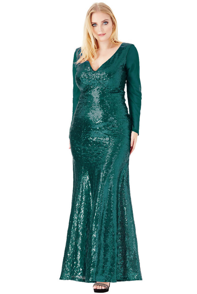 PLUS SIZE V NECK SEQUIN MAXI DRESS WITH LONG SLEEVES