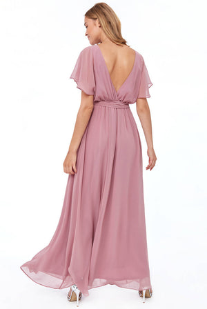 SILKY CHIFFON WRAP BACK MAXI DRESS