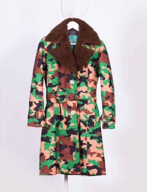Camouflage Waterproof Trench Coat with Shearling Lining