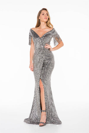 Fringe Detailed Sequin Maxi Dress