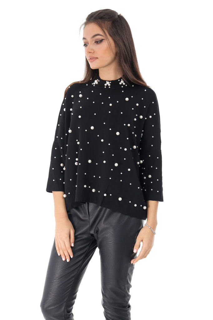Oversized black top, with pearls, Aimelia - BR2227
