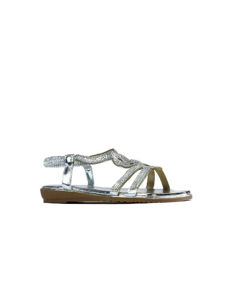 LSA-8127 8013-7 STONE STRAPPY SANDAL - SILVER - PACK OF 12 - SIZE 3 TO 8