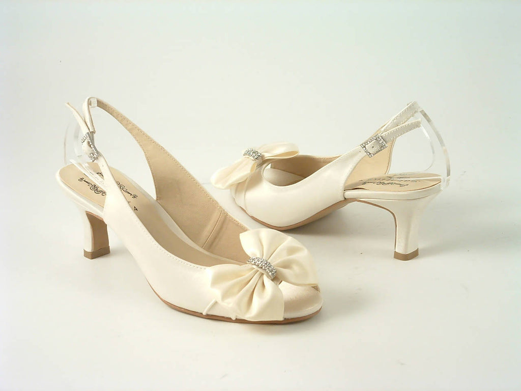 Diamante Ivory Satin Low Heel Peep Toe Court Shoe