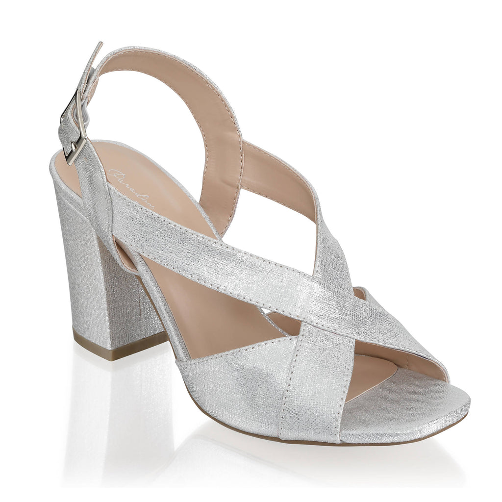 Glitter 'Hibiscus' Wide Fit Block Heel Ankle Strap Sandal - Silver