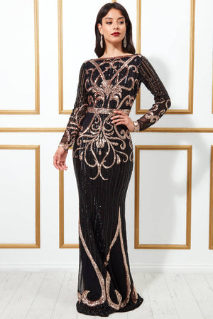 SEQUIN EMBELLISHED EVENING MAXI DRESS