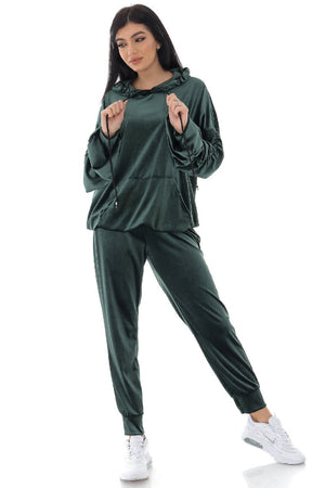 Soft Green Velour 2 piece lounge set - AIMELIA - TR431