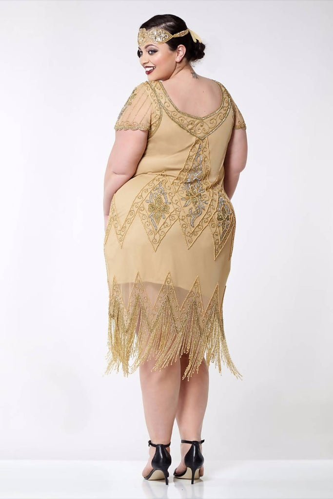 Annette Vintage Inspired Fringe Flapper Dress - Plus Size