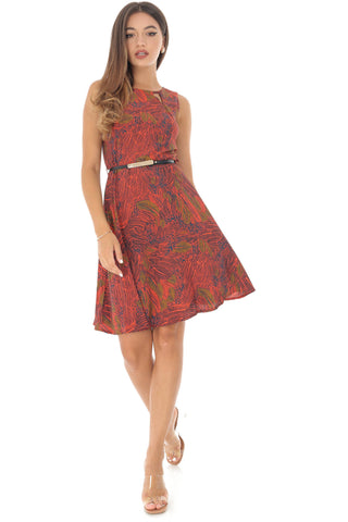 Rust coloured leaf print skater dress, Aimelia - DR3954
