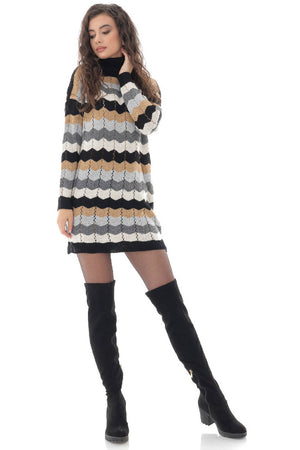 Ladies casual fitting jumper dress, black/grey - AIMELIA - DR4251