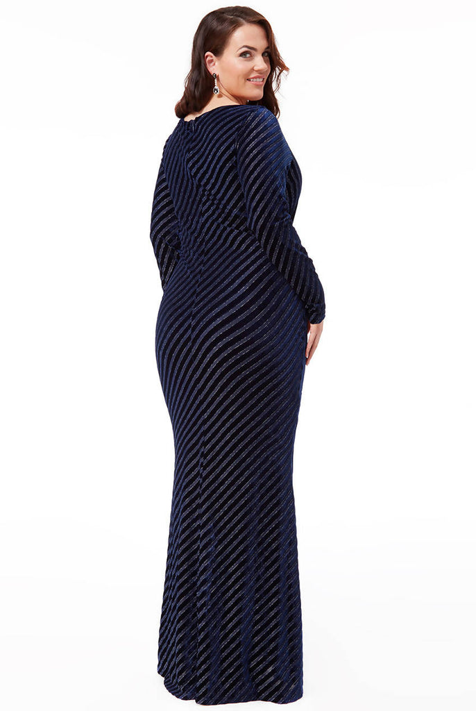 Plus Size Velvet Stripe Maxi Dress