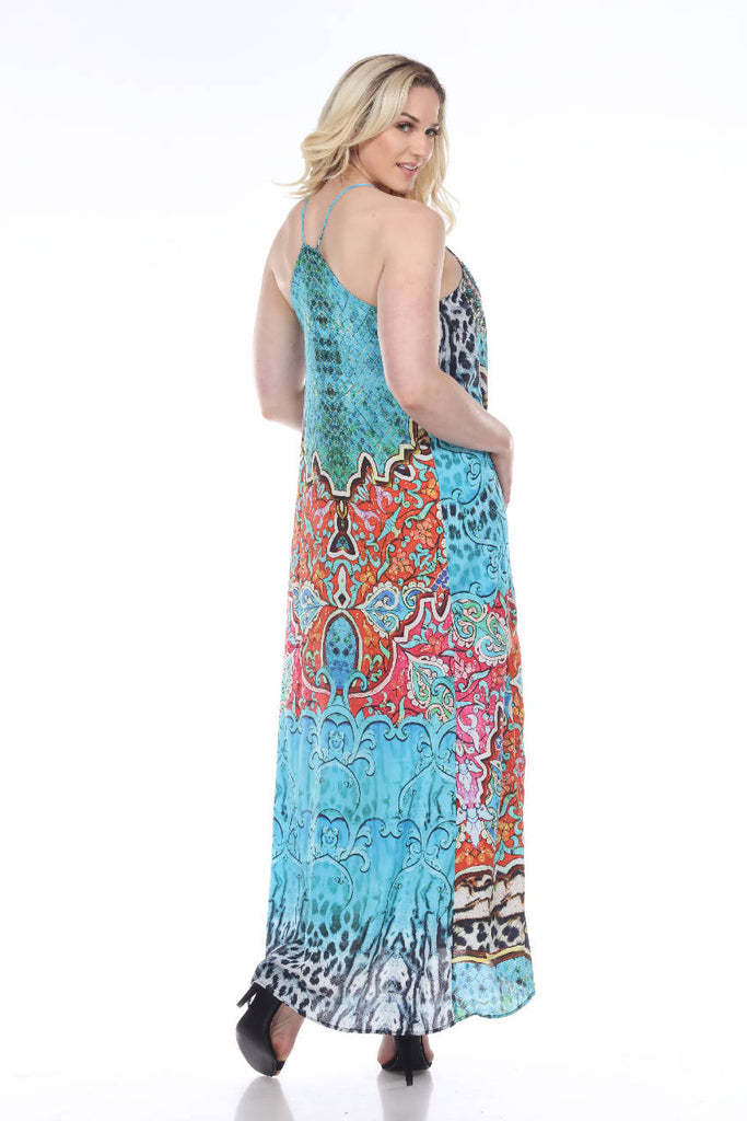 T-back long dress with pockets