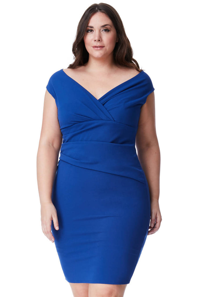 PLUS SIZE BARDOT PLEATED MIDI DRESS
