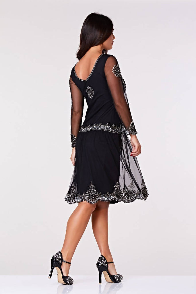Paris Drop Waist Long Sleeved Flapper Dress