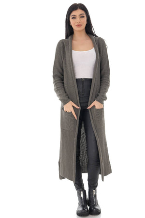 Fine knit long cardigan with pockets - Khaki - Aimelia - JR537