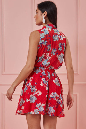 WRAP STYLE SLEEVELESS FLORAL MIDI DRESS