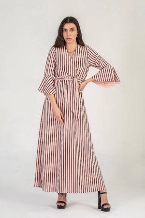 Pink Pinstripe Wrap Maxi Dress