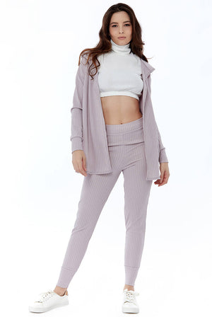 Wrap Back Cardigan with Hoodie and Leggings Ribbed Loungewear