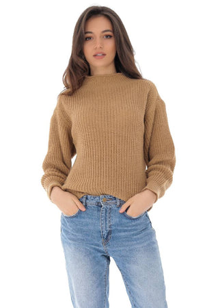 Beige chunky jumper with round neck,Aimelia - BR2289
