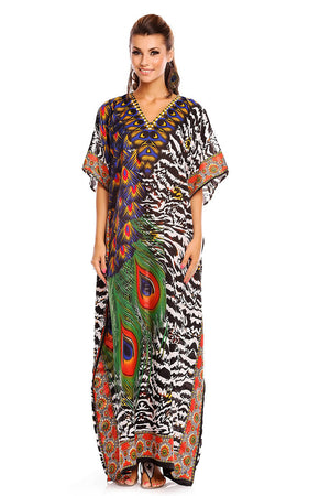 Ladies Full Length Maxi Kimono Kaftan in Floral Ethnic Print