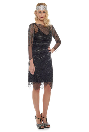 Catherine Flapper Dress in Black Silver