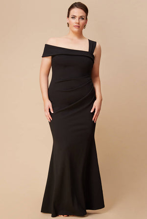 PLUS SIZE OFF THE SHOULDER PLEATED WAIST MAXI DRESS