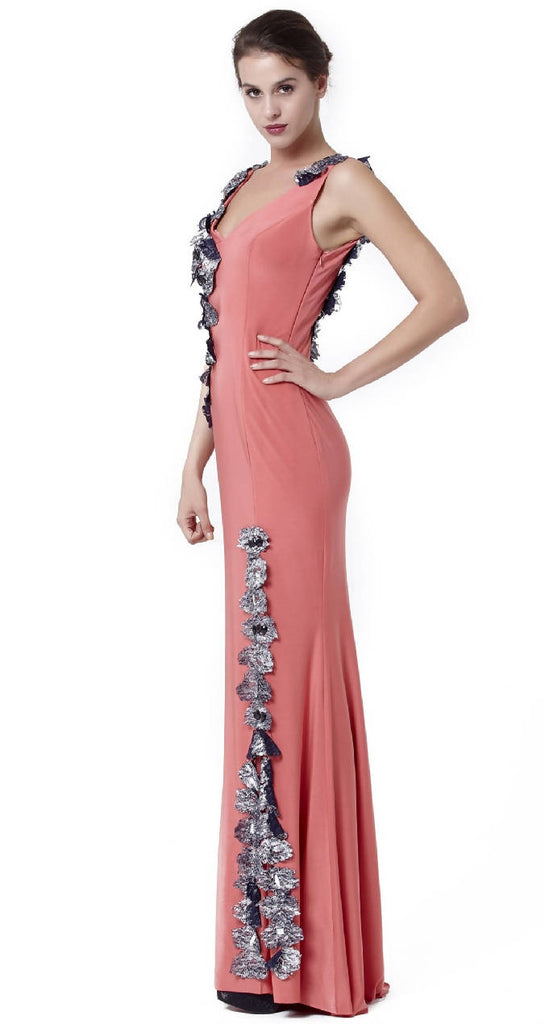Transparent Detail and Slit Maxi Dress