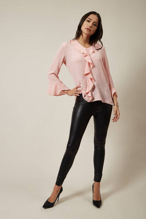 Oversized Top with Frilled Front in Pink
