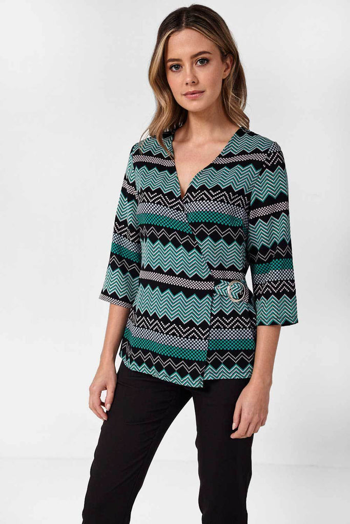 Wrap Over Top with Graphic Print