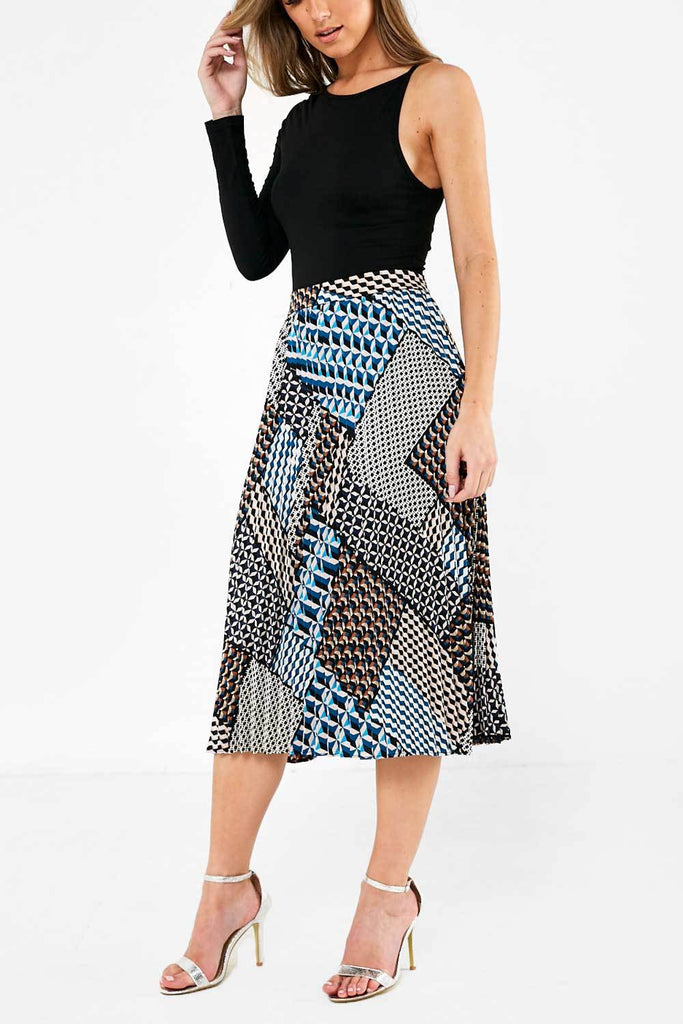 Pleated Midi Skirt in Abstract Print