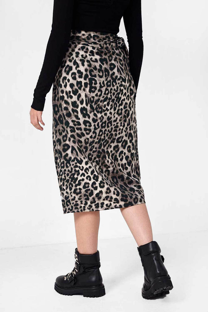 Wrap Over Leopard Print Skirt