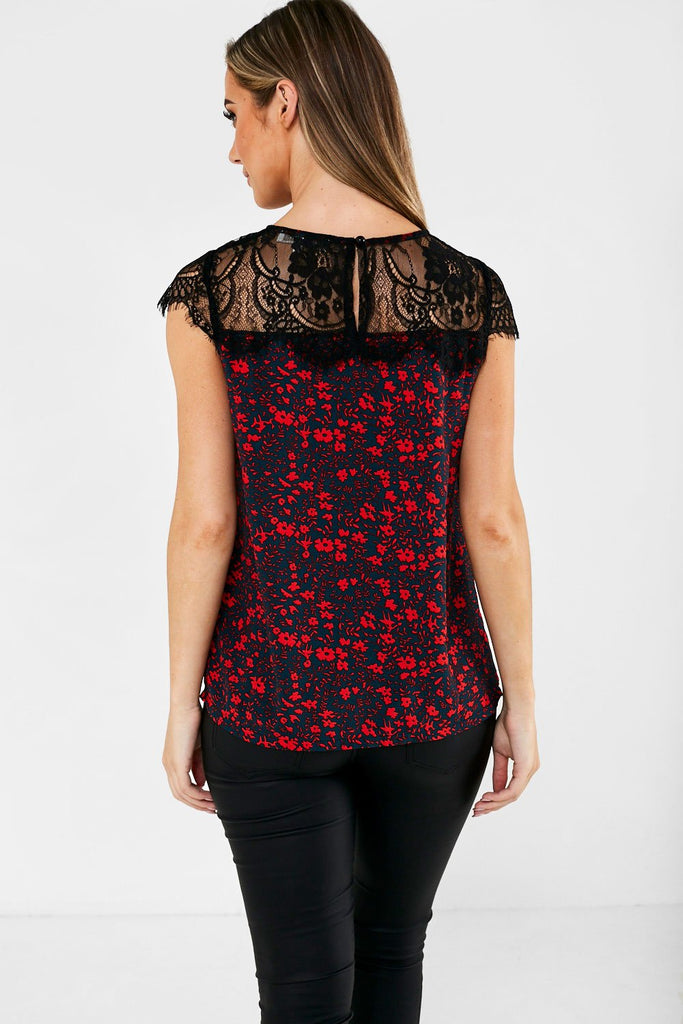Floral Print Short-Sleeve Top Lace Panel