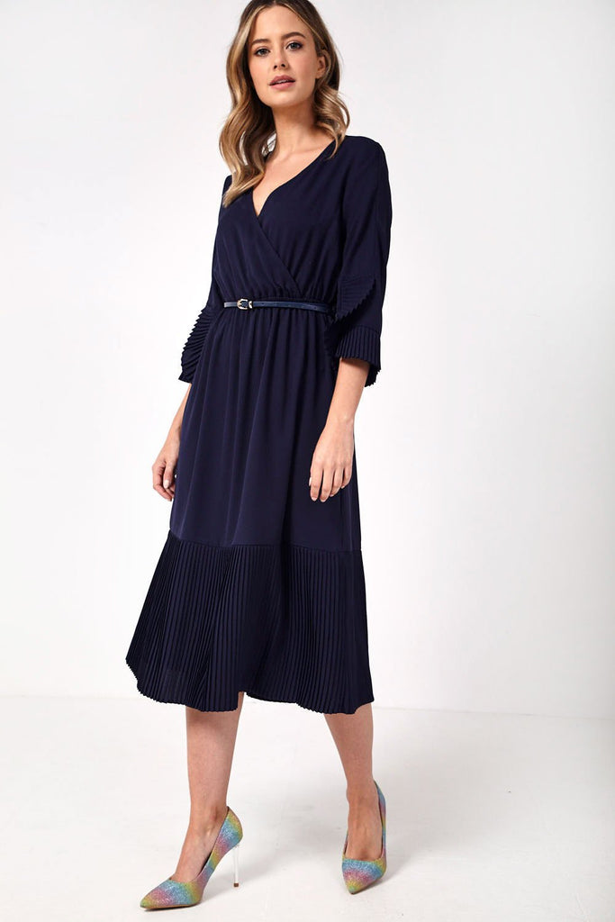Pleated Ruffle Dress with Belt at Waist