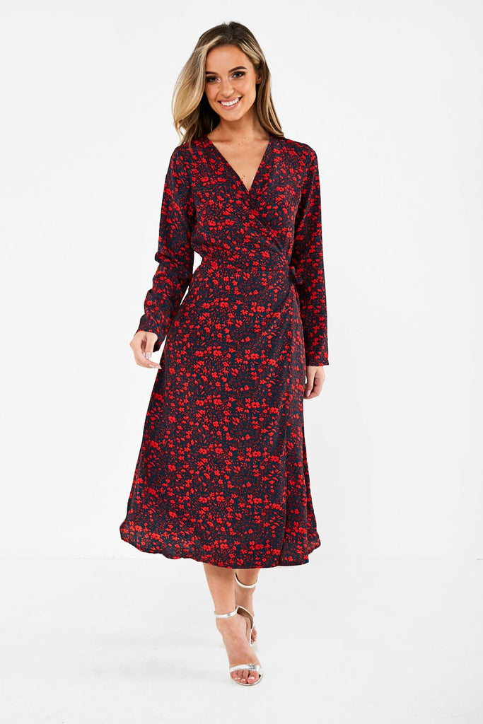 Wrap Over Midi Dress in Ditsy Floral print
