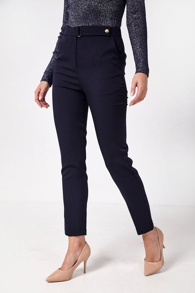 Tailored Trousers with Button Detail