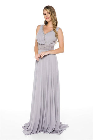 Waist And Collar Embroidered Chiffon Evening Dress