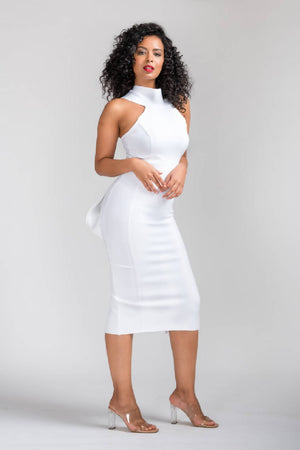 TARA HALTER NECK BOWKNOT BODYCON MIDI BANDAGE DRESS