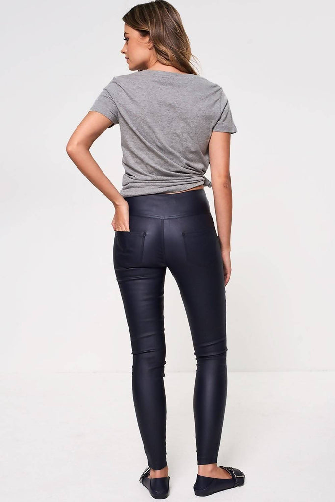 High Waisted Coated Trousers