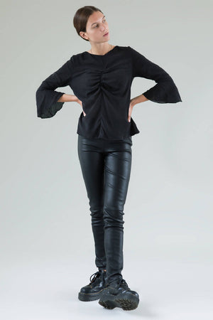 Black Elsa Knotted Top