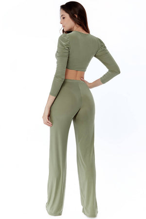 Slinky Puff Sleeve Crop Top And Trousers Set