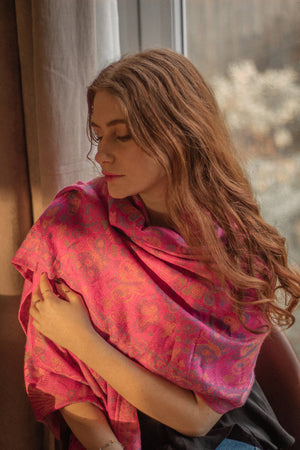 Vintage Butterfly & Tassel Pashmina Scarf - Fuscia Pink