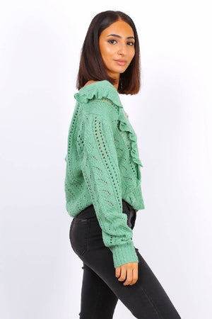 Button Front Ruffle Knit Cardigan In Sage Green