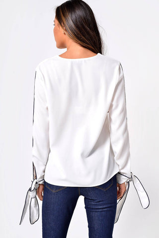 Contrast Tie Sleeve Top in Off-white