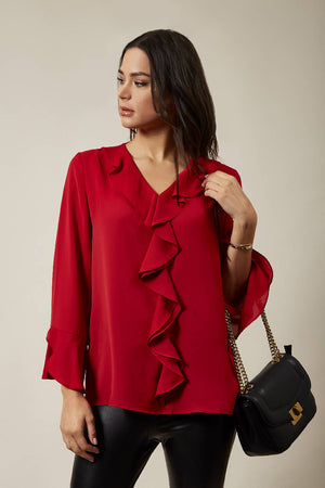 Oversized Top with Frilled Front in Red