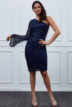 ASYMMETRIC FLARED SLEEVE SEQUIN MIDI