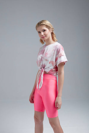 Women Pink Tie Dye Printed Crop Top & Biker Shorts / Leggings