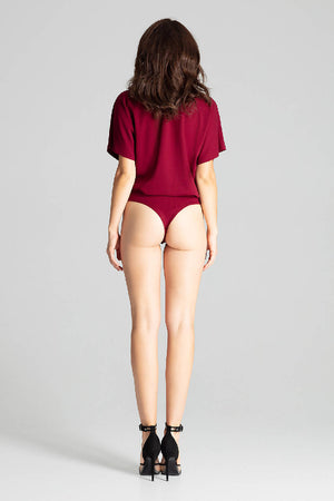 Deep Red Body With Short Sleeves